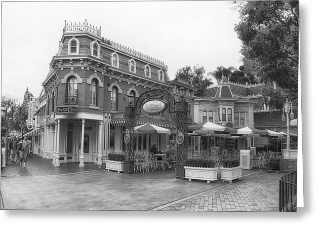 Main Street Corners Greeting Cards - Corner Cafe Main Street Disneyland BW Greeting Card by Thomas Woolworth
