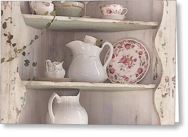 Old Pitcher Greeting Cards - Corner Cupboard Greeting Card by Art Block Collections