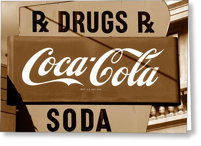 Drug Stores Greeting Cards - Corner drugstore sign Greeting Card by David Lee Thompson