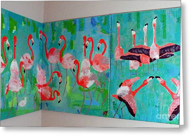 Pink Reliefs Greeting Cards - Corner Flamingos Greeting Card by Vicky Tarcau