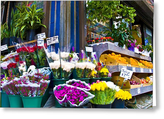 Corner Flower Stand Greeting Card by Larry Goss