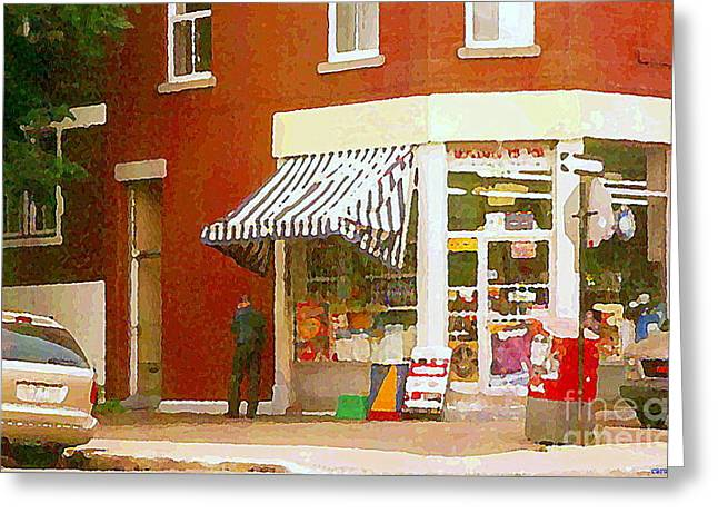 Street Scenes Greeting Cards - Corner Grocery Store Paintings Depanneur Villeneuve French Wine And Cheese Deli Shop Montreal Art Greeting Card by Carole Spandau