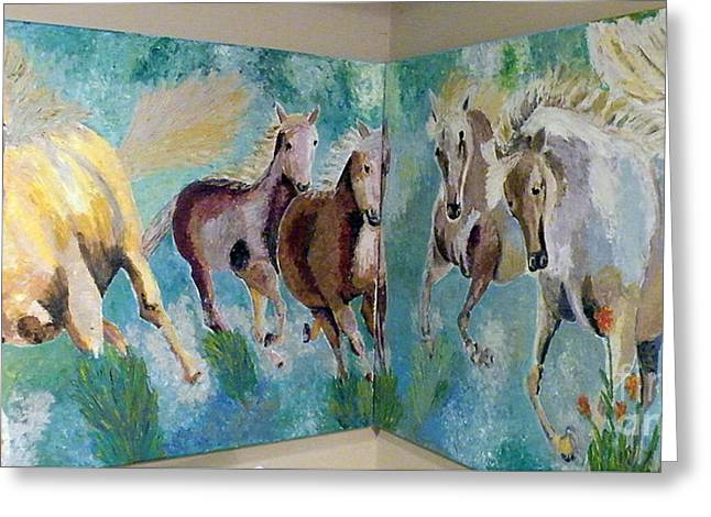 Impressionism Reliefs Greeting Cards - Corner Horses Greeting Card by Vicky Tarcau