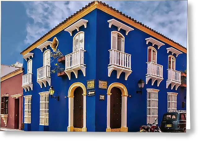 Caribbean Corner Greeting Cards - Corner House Greeting Card by Maria Coulson