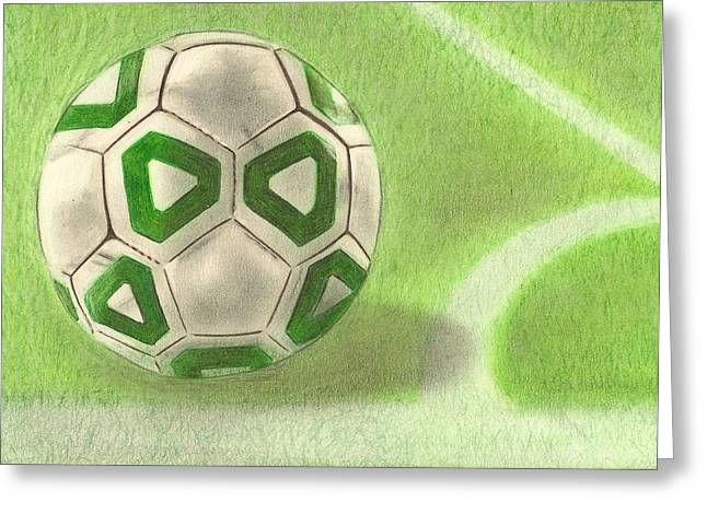 Fall Photos Drawings Greeting Cards - Corner Kick Greeting Card by Troy Levesque
