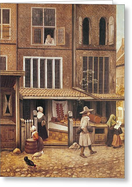 Baker Greeting Cards - Corner Of A Town With A Bakery Oil On Panel Greeting Card by Jacobus Vrel or Frel