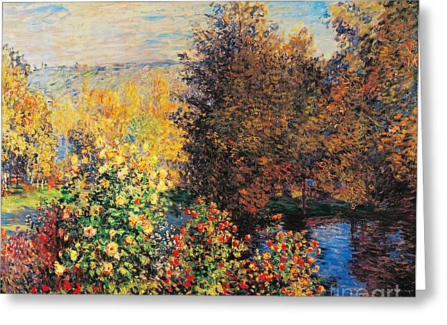 Contemporary Age Greeting Cards - Corner of garden in Montgeron Greeting Card by Claude Monet