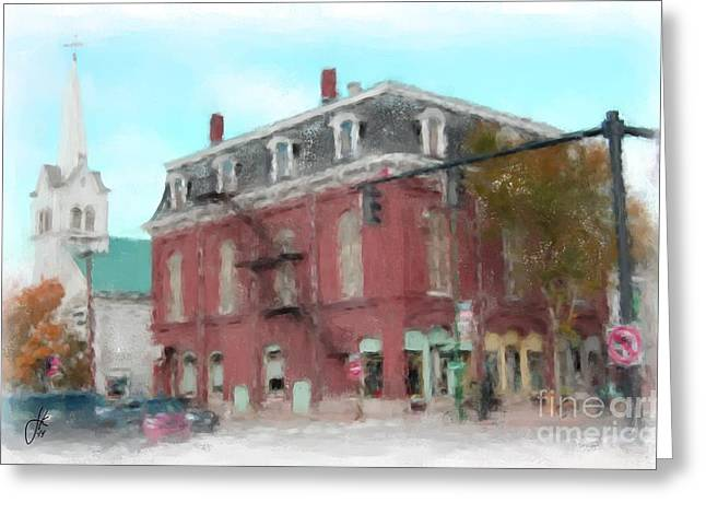 Main Street Corners Greeting Cards - Corner Of Pleasant And Maine 1065 20141003 Greeting Card by Julie Knapp