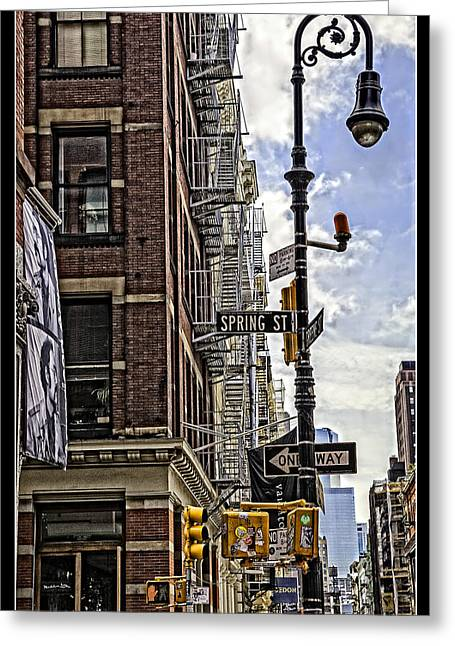 Spring Street Greeting Cards - Corner of Spring and Greene - Soho - NYC Greeting Card by Madeline Ellis