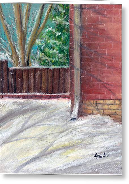 Brick Wall Pastels Greeting Cards - Corner of the house Greeting Card by Huy Lee