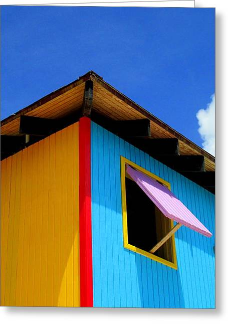 Caribbean Architecture Greeting Cards - Corner Pink Shutter Greeting Card by Randall Weidner