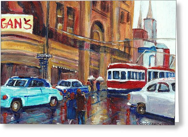 Ste Catherine Greeting Cards - Corner St.catherine And Union Streets-fifties Montreal-vintage Street Scene Greeting Card by Carole Spandau