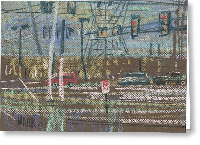 Traffic Drawings Greeting Cards - Corner Traffic Greeting Card by Donald Maier