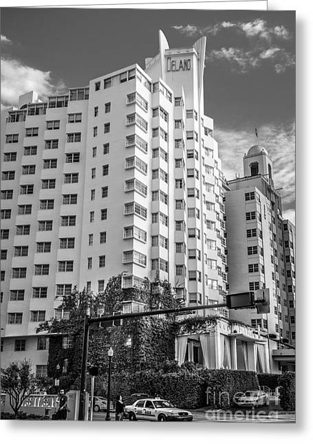 Art Of Building Greeting Cards - Corner view of Delano Hotel and National Hotel - South Beach - Miami - Florida - Black and White Greeting Card by Ian Monk