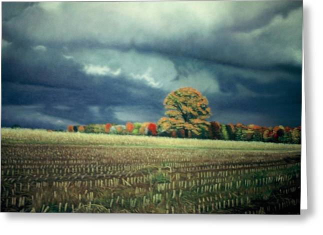 Planet Earth Pastels Greeting Cards - Cornfield On Argentine Road Greeting Card by James Welch
