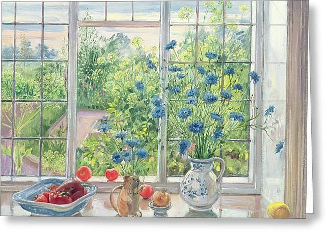Cornflowers And Kitchen Garden Greeting Card by Timothy Easton