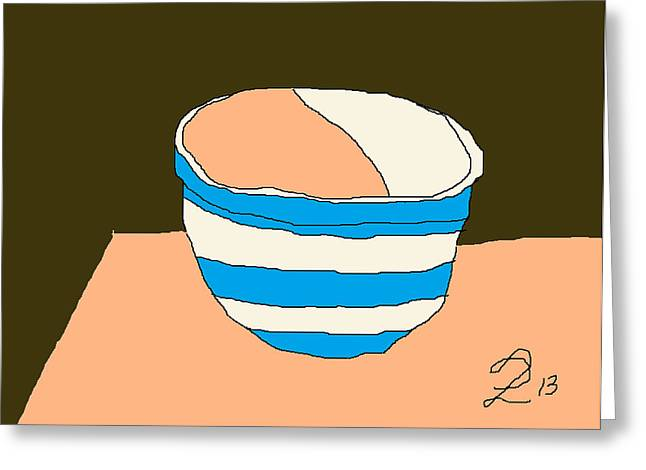 Interior Still Life Drawings Greeting Cards - Cornish Bowl Greeting Card by Anita Dale Livaditis
