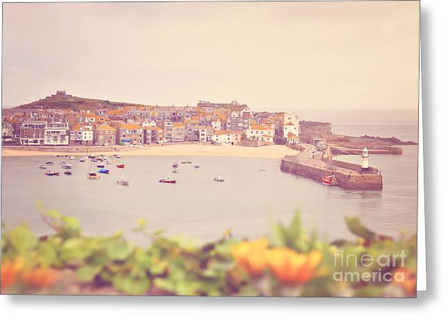 Lyn Randle Greeting Cards - Cornish Harbour Greeting Card by Lyn Randle