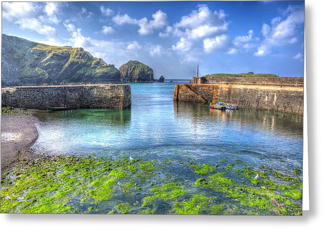 Blue Green Wave Greeting Cards - Cornish harbour walls with green seaweed Greeting Card by Michael Charles