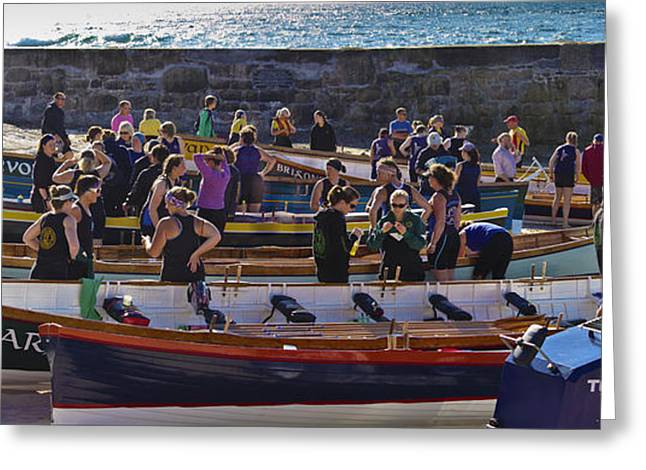 Sennen Cove Greeting Cards - Cornish Pilot Gigs Greeting Card by Terri  Waters