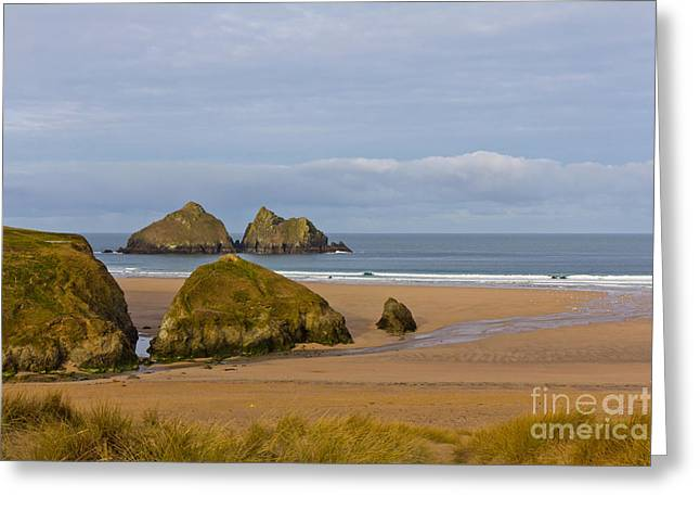 Golfcourses Greeting Cards - Cornish Seascape Holywell Bay Greeting Card by Brian Roscorla