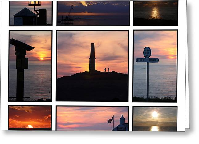 Cape Cornwall Greeting Cards - Cornish Sunsets Greeting Card by Terri  Waters