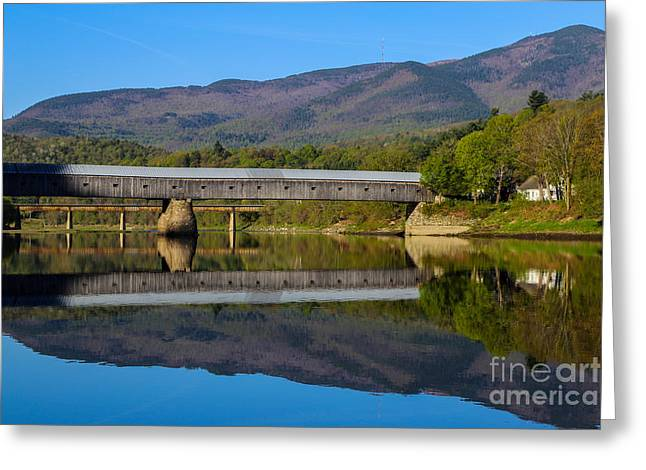 Cornish Windsor Covered Bridge Greeting Card by Edward Fielding