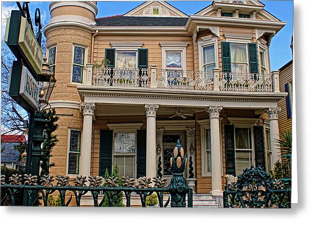 Historic Home Greeting Cards - Cornstalk Fence Hotel Greeting Card by Judy Vincent