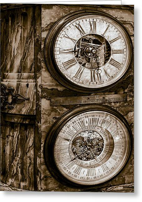 National Past Time Greeting Cards - Cornu Clock In Sepia Greeting Card by Susan Candelario