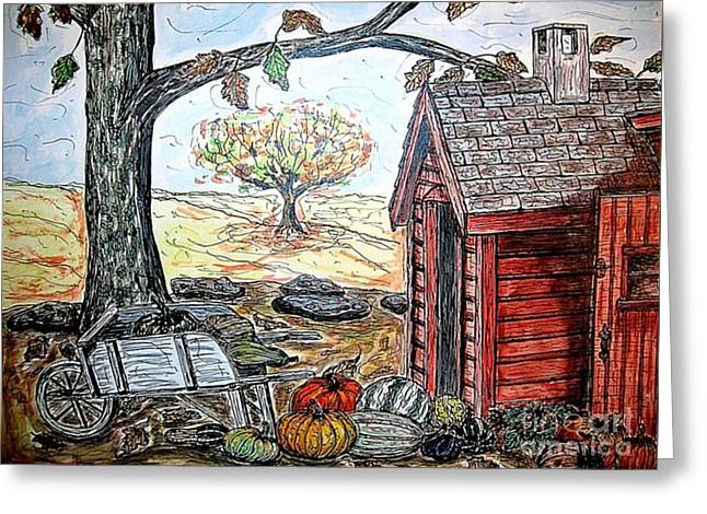 Harvest Mixed Media Greeting Cards - Cornucopia Greeting Card by Kim Jones