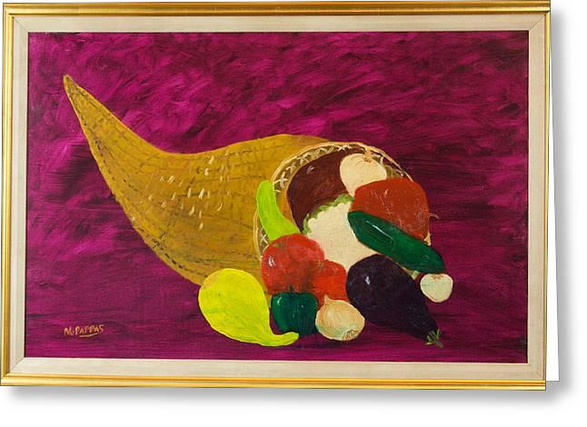 Cornucopia Paintings Greeting Cards - Cornucopia Greeting Card by Margaret Pappas