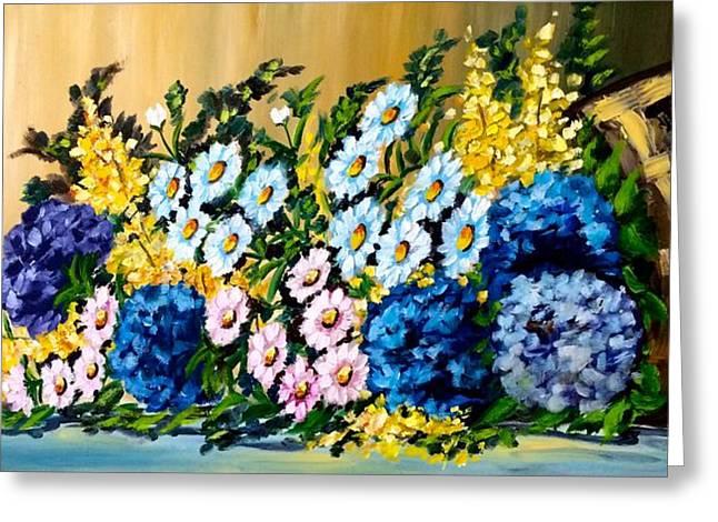 Cornucopia Paintings Greeting Cards - Cornucopia of Flowers Greeting Card by Marta Perroni