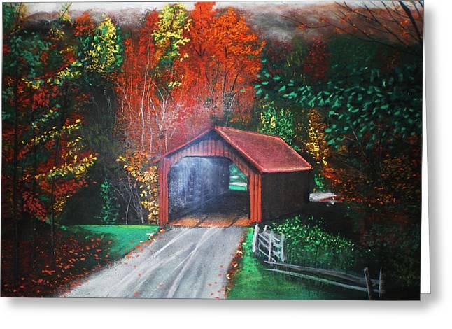 Covered Bridge Pastels Greeting Cards - Cornwall Covered Bridge Greeting Card by Shannon Gerdauskas