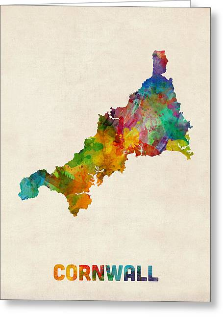 Maps Greeting Cards - Cornwall England Watercolor Map Greeting Card by Michael Tompsett