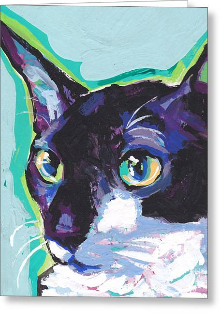 Childrens Portraits Greeting Cards - Corny Kitty Greeting Card by Lea
