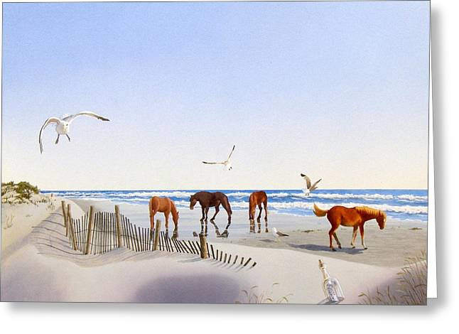 Sand Fences Paintings Greeting Cards - Corolla Beach Greeting Card by C Robert Follett