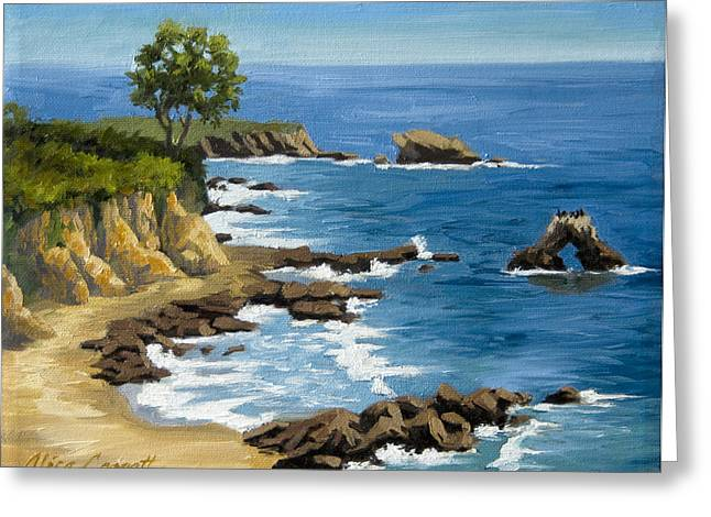 Ocean Landscape Greeting Cards - Corona del Mar California Greeting Card by Alice Leggett