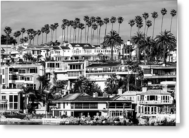 Opulence Greeting Cards - Corona del Mar California Black and White Picture Greeting Card by Paul Velgos