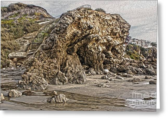 Corona Del Mar Sea Cave Greeting Card by Gregory Dyer