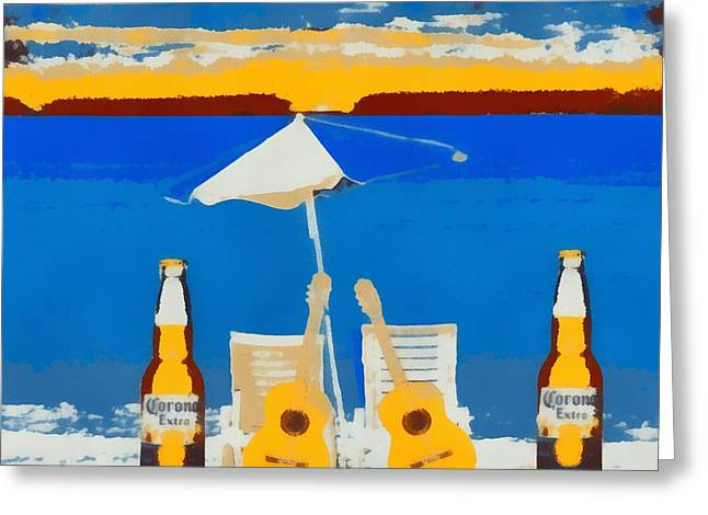 Myrtle Beach Ocean Photography Greeting Cards - Corona Pop Art Greeting Card by Dan Sproul