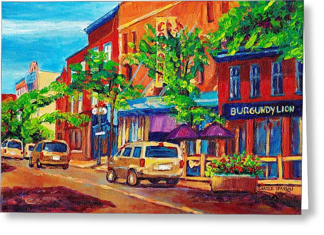 Street Scenes Greeting Cards - Corona Theatre Presents The Burgundy Lion Rue Notre Dame Montreal Street Scene By Carole Spandau Greeting Card by Carole Spandau