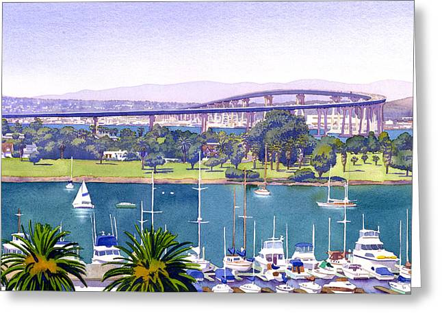 Palm Greeting Cards - Coronado Bay Bridge Greeting Card by Mary Helmreich