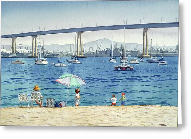 Southern California Beach Greeting Cards - Coronado Beach and Navy Ships Greeting Card by Mary Helmreich