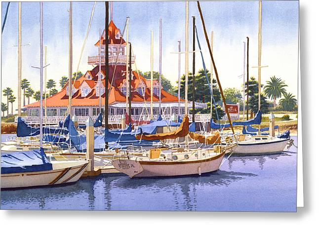Yacht Greeting Cards - Coronado Boathouse Greeting Card by Mary Helmreich