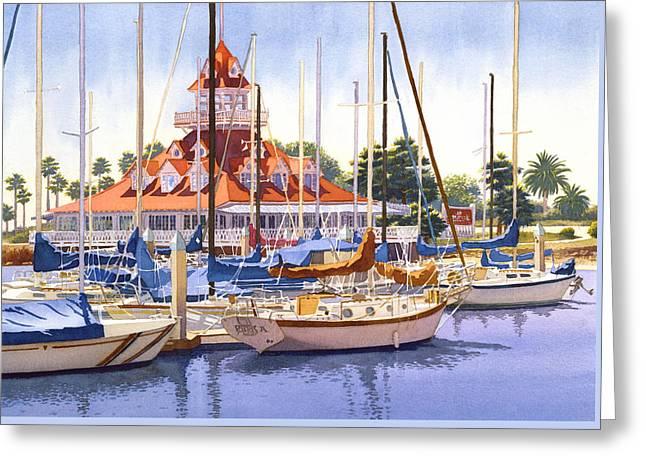 Coronado Boathouse Greeting Card by Mary Helmreich