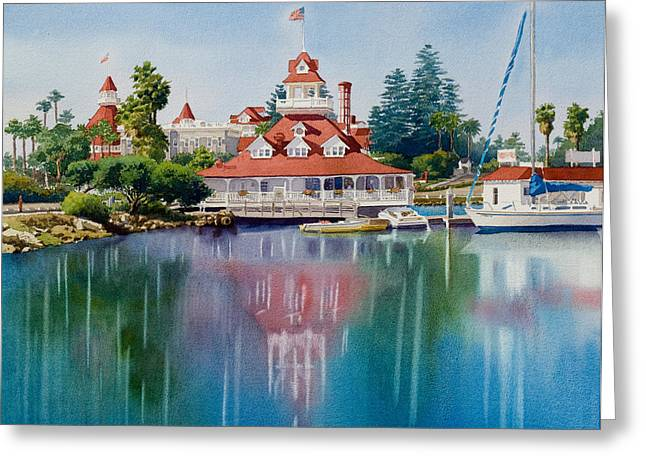 Coronado Greeting Cards - Coronado Boathouse Reflected Greeting Card by Mary Helmreich