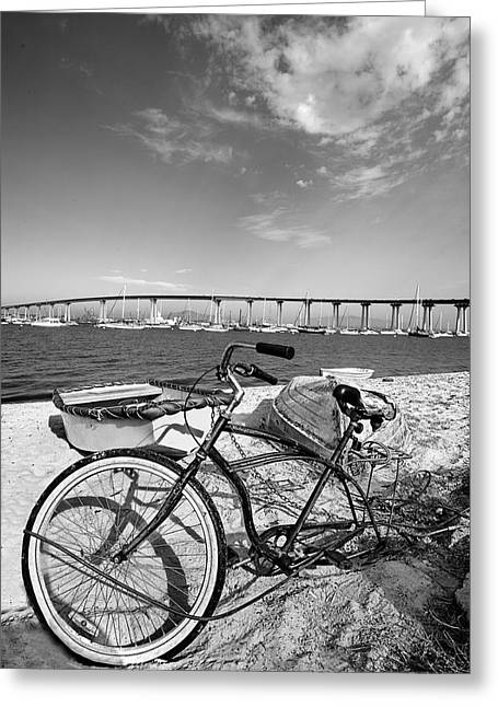 Beach Cruiser Greeting Cards - Coronado Bridge Bike Greeting Card by Peter Tellone