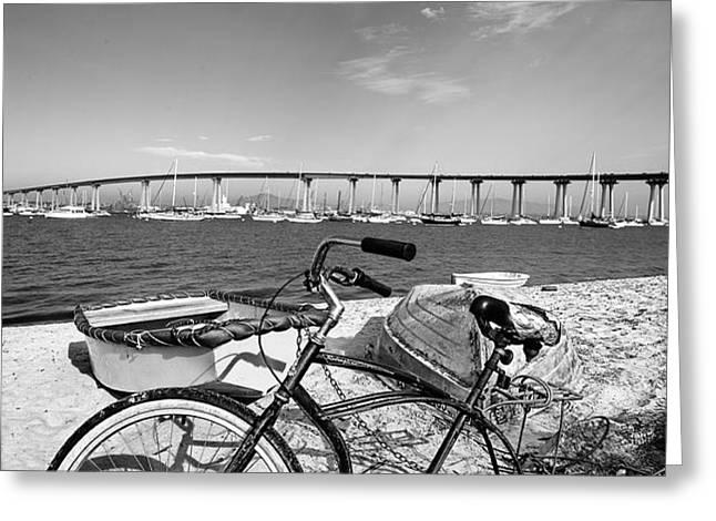 Coronado Bridge Bike Greeting Card by Peter Tellone