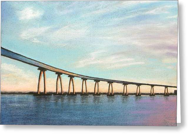 Skylines Pastels Greeting Cards - Coronado Bridge Sunset A Greeting Card by Michael Heikkinen