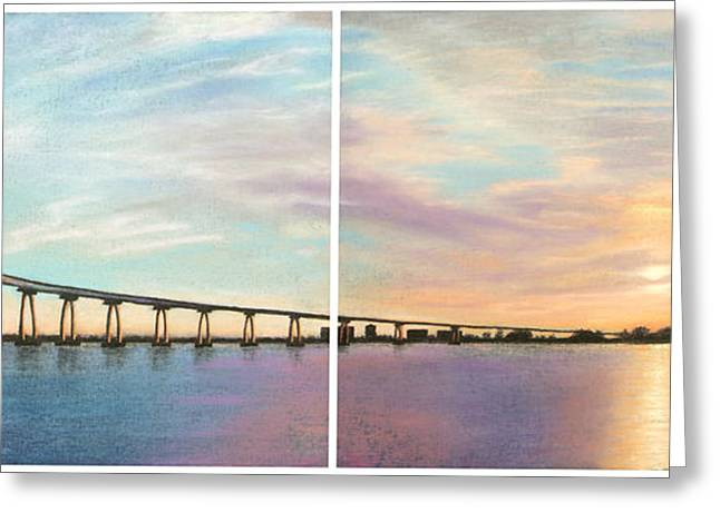 Skylines Pastels Greeting Cards - Coronado Bridge Sunset Diptych Greeting Card by Michael Heikkinen